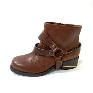 Very Volatile Brown Chain Strap Booties